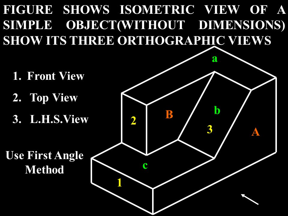 FIGURE SHOWS ISOMETRIC VIEW OF A SIMPLE OBJECT(WITHOUT DIMENSIONS) SHOW ITS THREE ORTHOGRAPHIC VIEWS