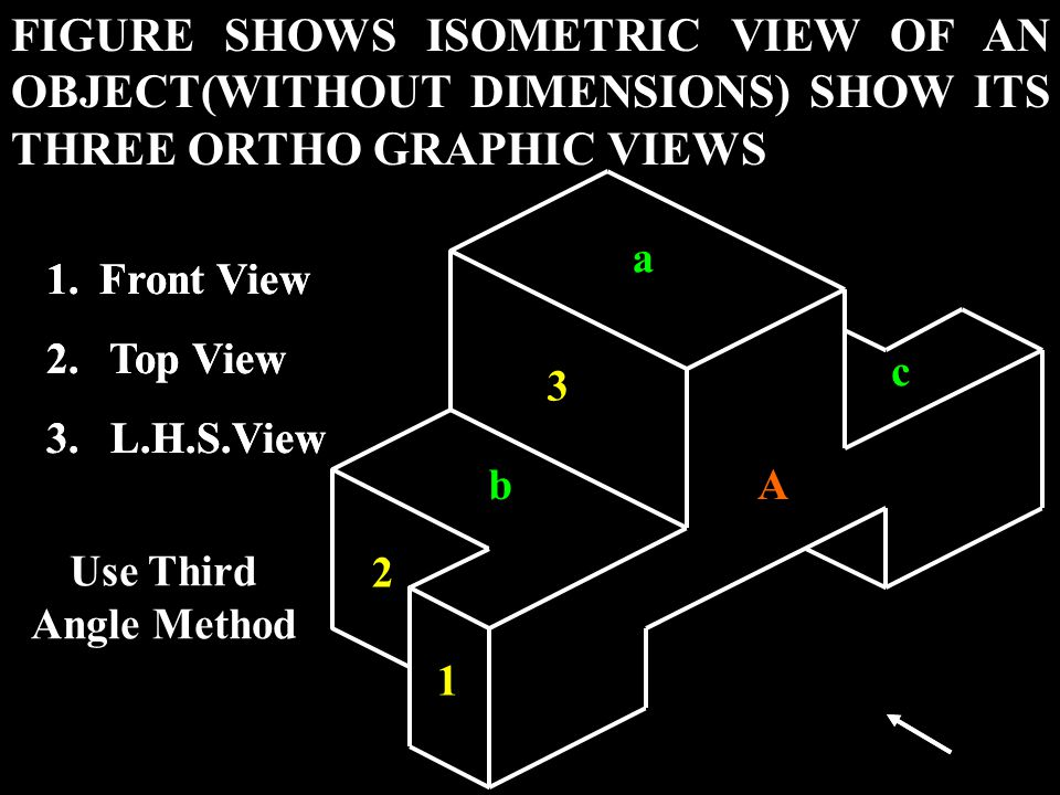FIGURE SHOWS ISOMETRIC VIEW OF AN OBJECT(WITHOUT DIMENSIONS) SHOW ITS THREE ORTHO GRAPHIC VIEWS