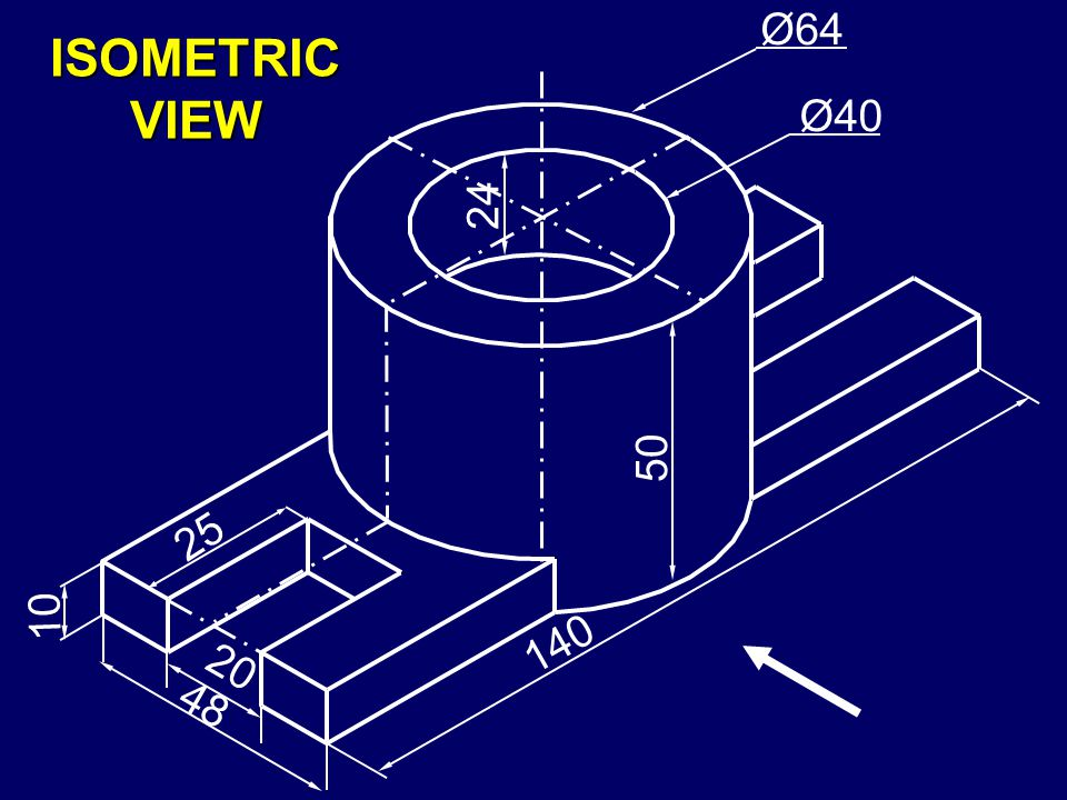140 Ø40 Ø64 24 20 10 48 50 25 ISOMETRIC VIEW