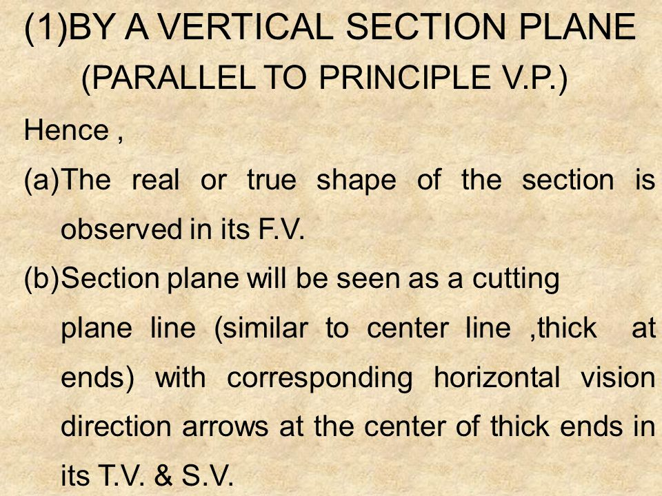 BY A VERTICAL SECTION PLANE