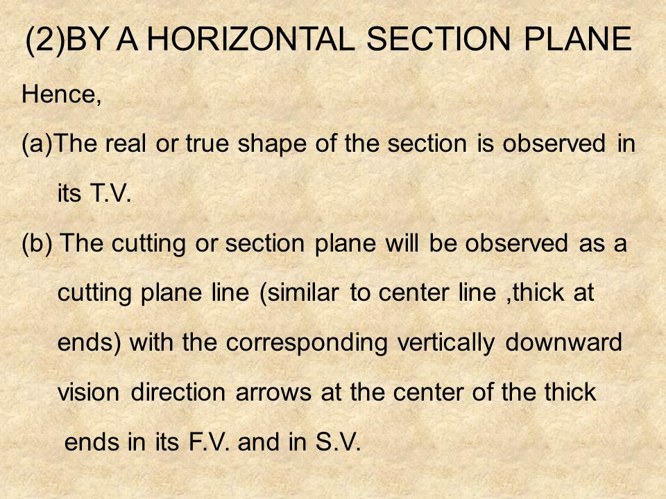 (2)BY A HORIZONTAL SECTION PLANE
