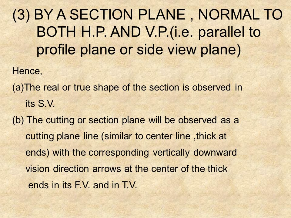 (3) BY A SECTION PLANE , NORMAL TO BOTH H.P. AND V.P.(i.e. parallel to