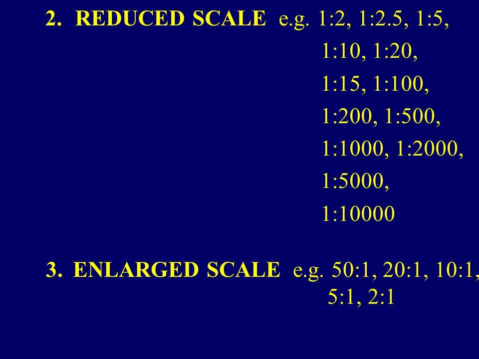 2. REDUCED SCALE e.g. 1:2, 1:2.5, 1:5, 1:10, 1:20, 1:15, 1:100, 1:200, 1:500, 1:1000, 1:2000, 1:5000, 1:10000