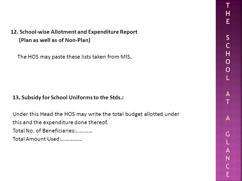 T H E S C O L A G N 12. School-wise Allotment and Expenditure Report