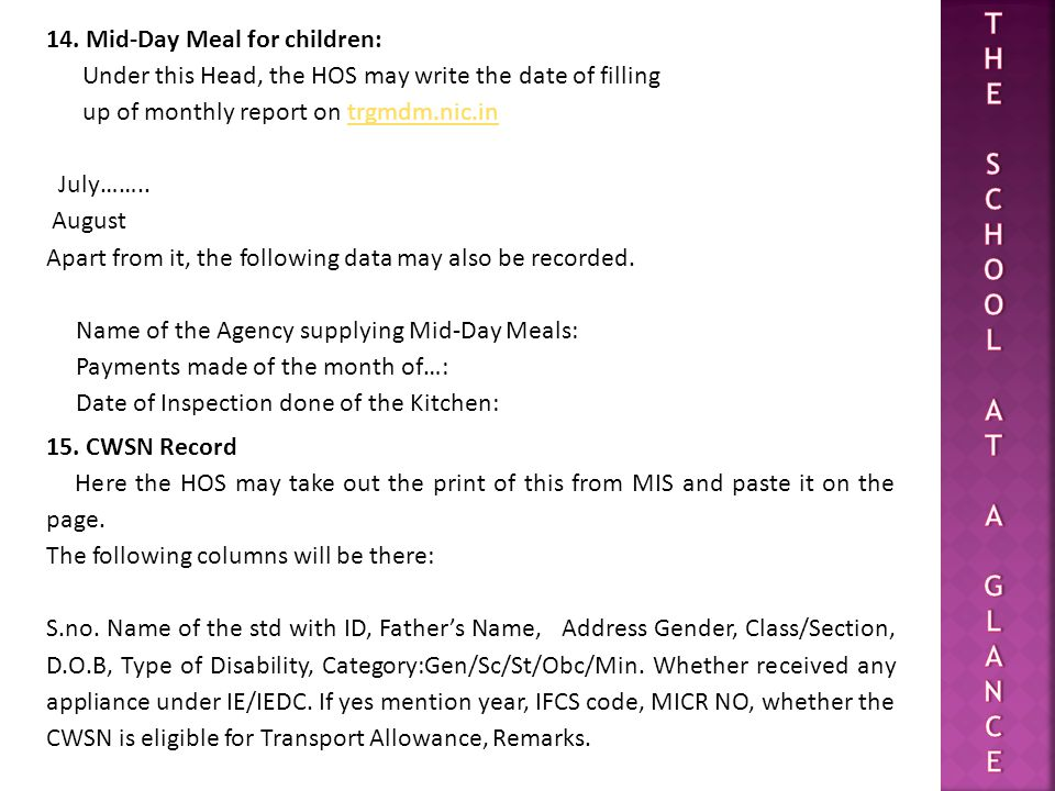 T H E S C O L A G N 14. Mid-Day Meal for children: