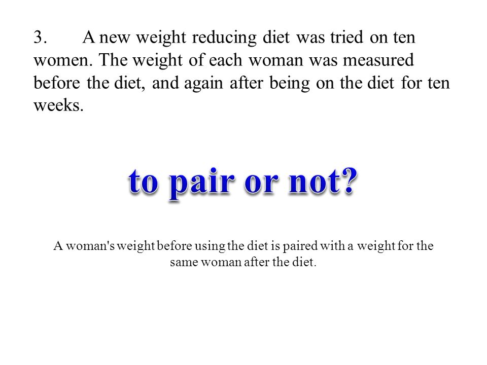 3. A new weight reducing diet was tried on ten women