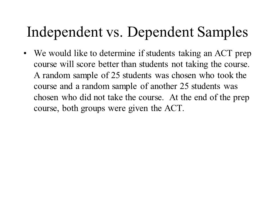 Independent vs. Dependent Samples