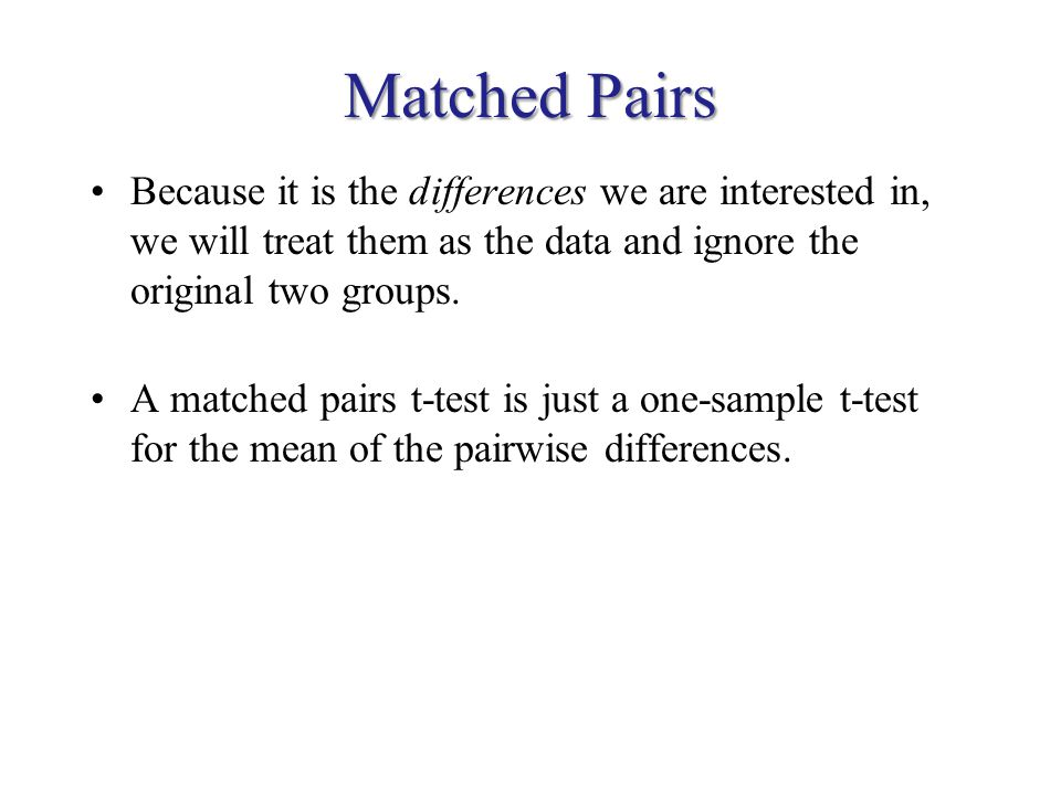 Matched Pairs Because it is the differences we are interested in, we will treat them as the data and ignore the original two groups.