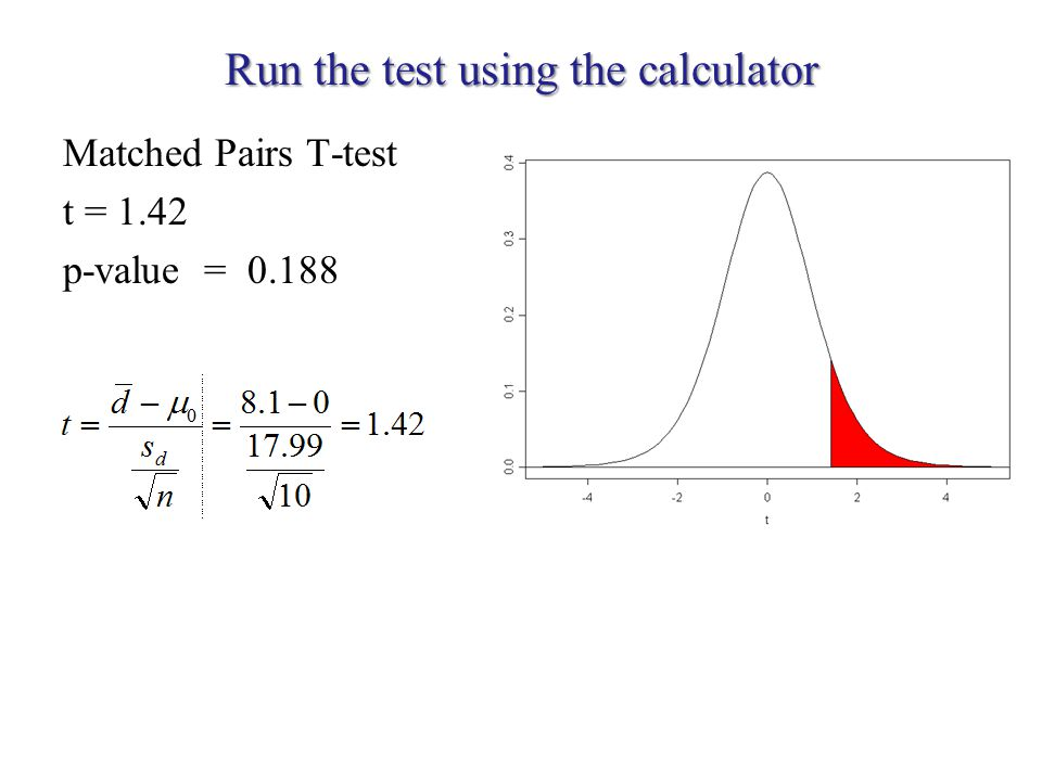 Run the test using the calculator