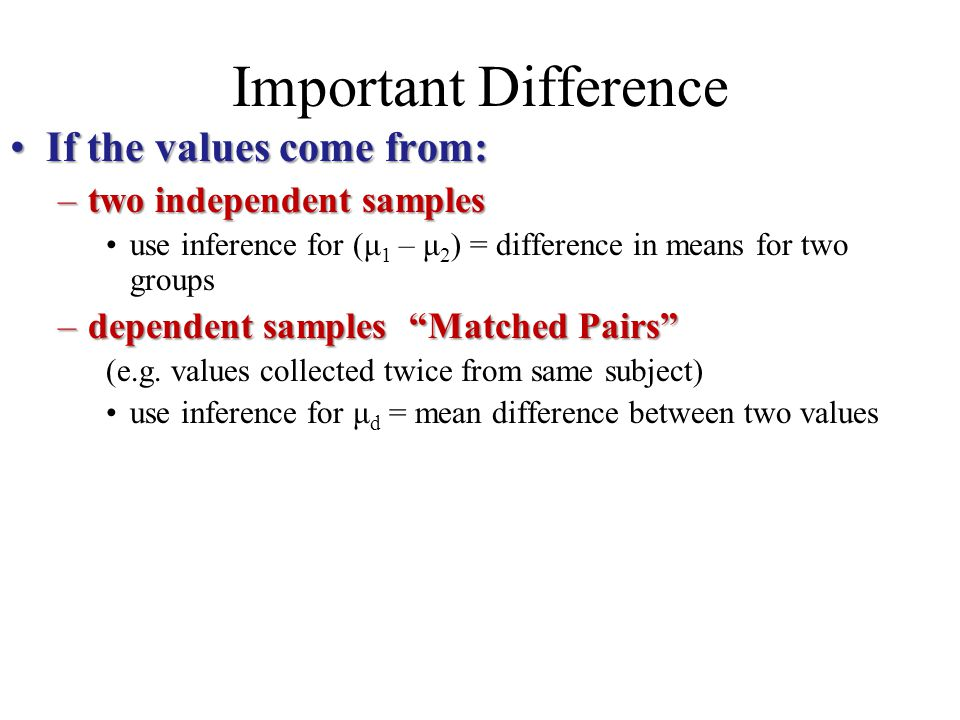 Important Difference If the values come from: two independent samples