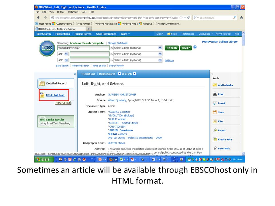 Sometimes an article will be available through EBSCOhost only in HTML format.