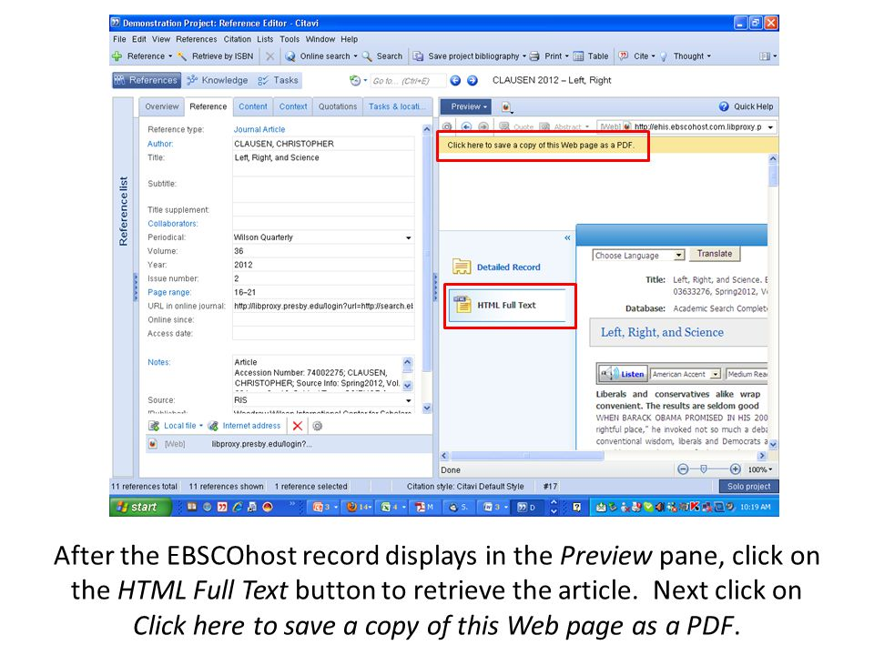 After the EBSCOhost record displays in the Preview pane, click on the HTML Full Text button to retrieve the article.