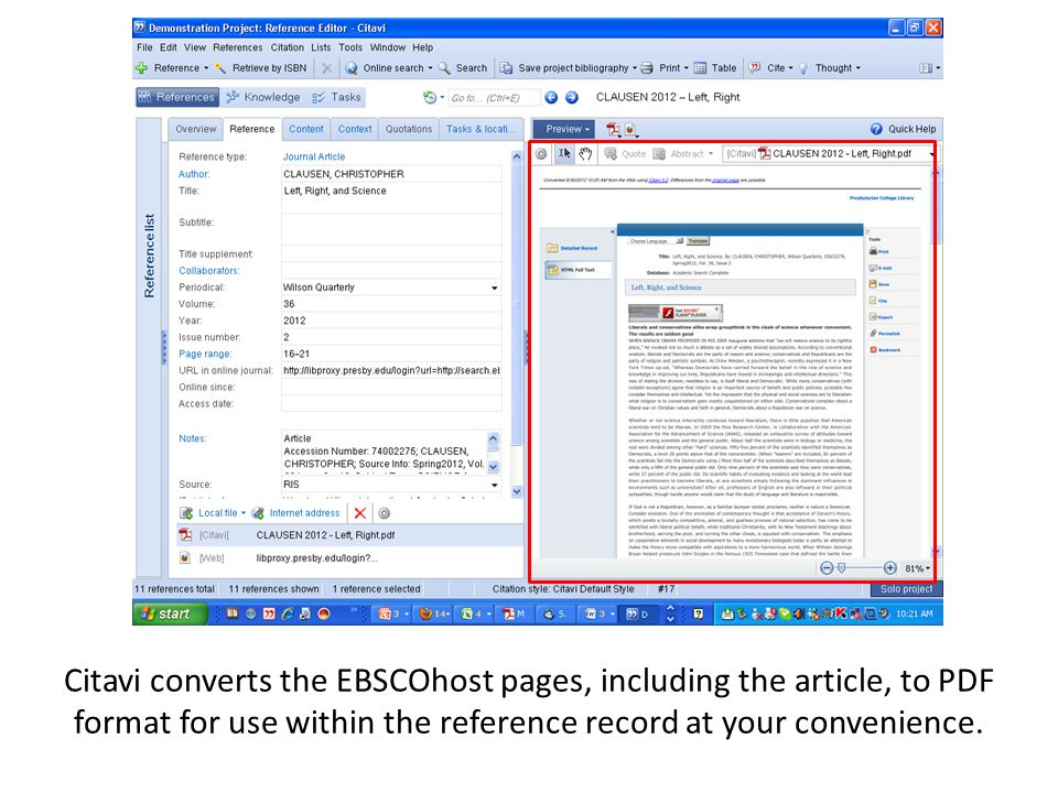 Citavi converts the EBSCOhost pages, including the article, to PDF format for use within the reference record at your convenience.