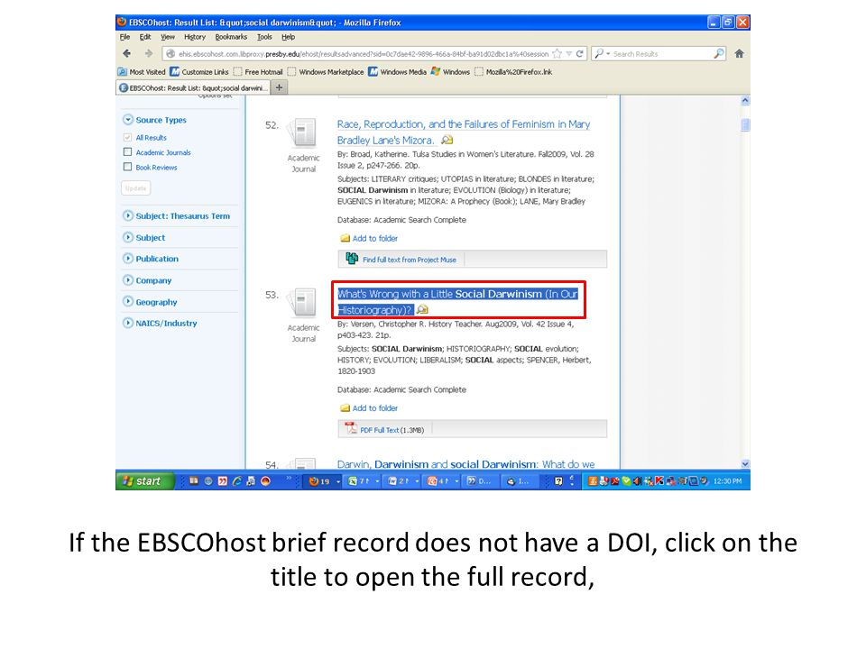 If the EBSCOhost brief record does not have a DOI, click on the title to open the full record,