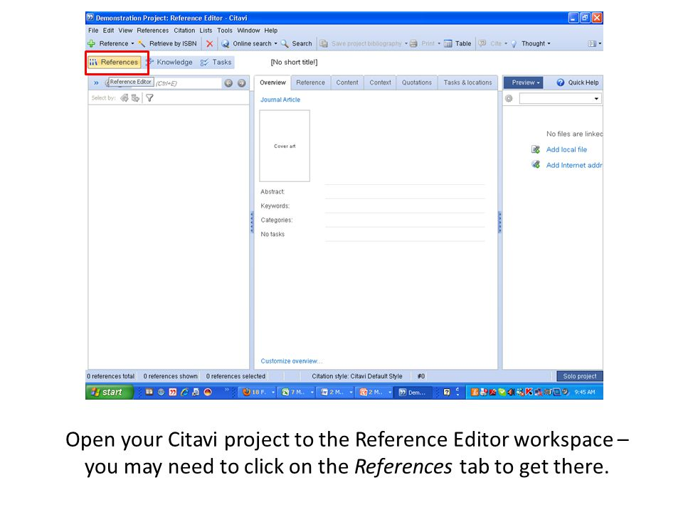 Open your Citavi project to the Reference Editor workspace – you may need to click on the References tab to get there.