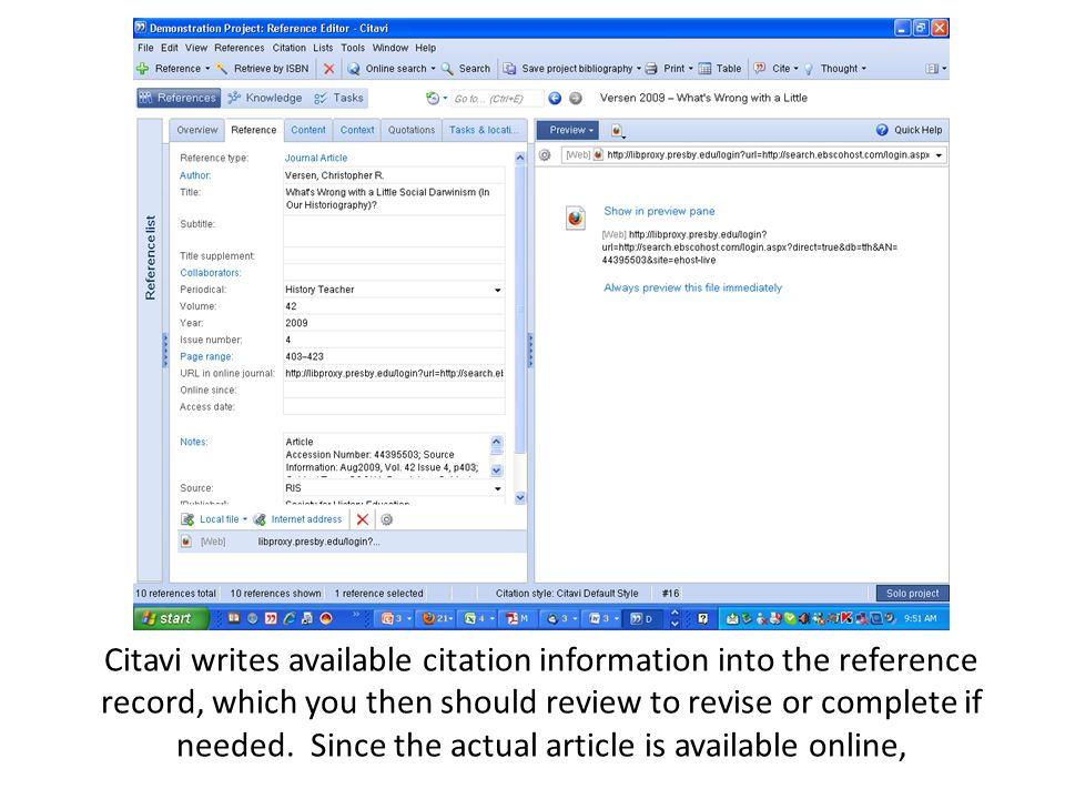 Citavi writes available citation information into the reference record, which you then should review to revise or complete if needed.