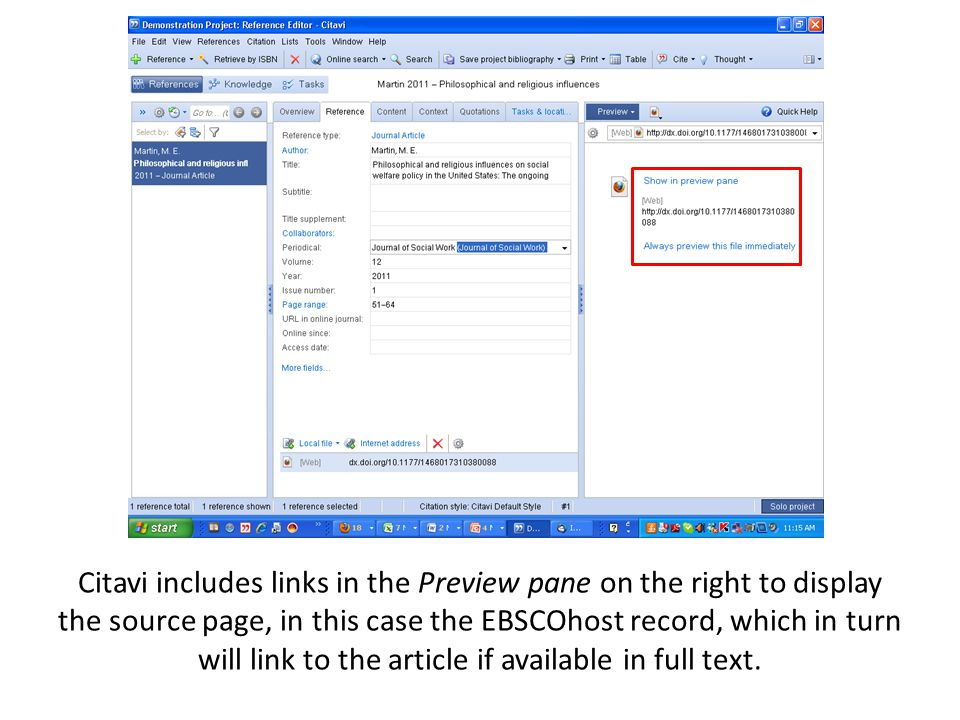 Citavi includes links in the Preview pane on the right to display the source page, in this case the EBSCOhost record, which in turn will link to the article if available in full text.