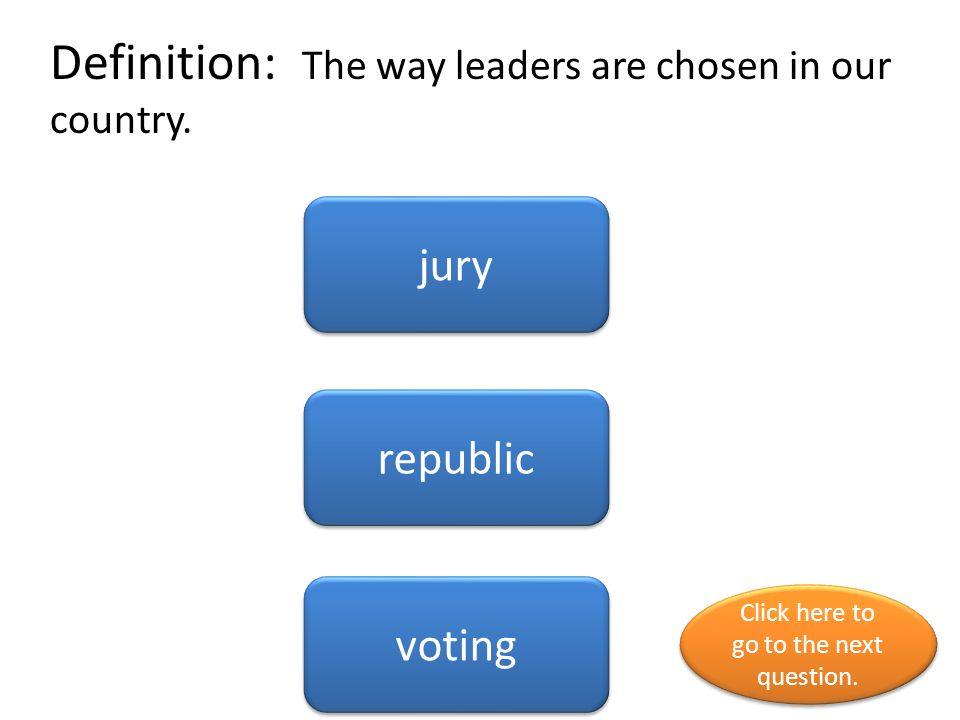 Definition: The way leaders are chosen in our country.
