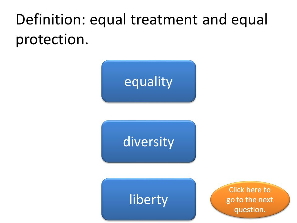 Definition: equal treatment and equal protection.
