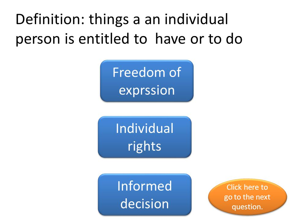 Definition: things a an individual person is entitled to have or to do