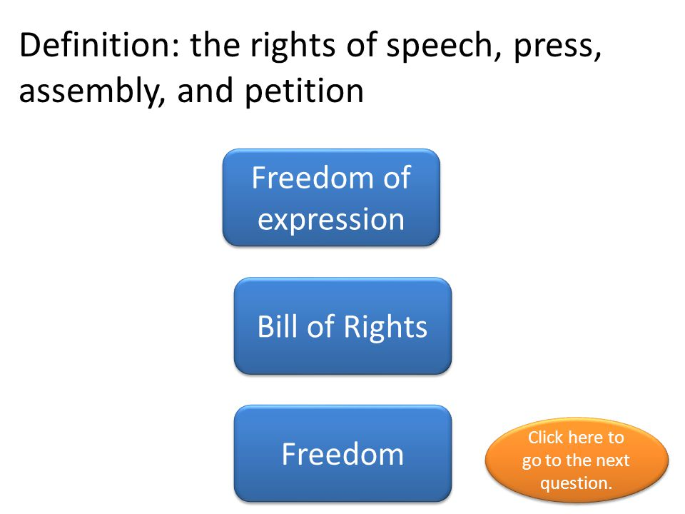 Definition: the rights of speech, press, assembly, and petition