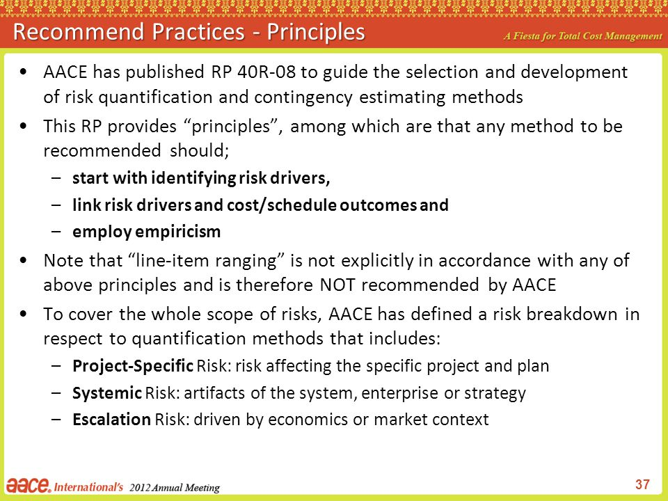 Recommend Practices - Principles