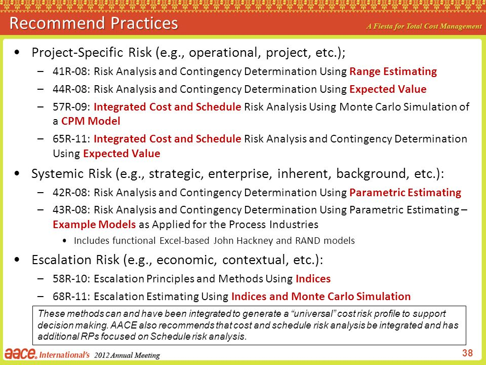 Recommend Practices Project-Specific Risk (e.g., operational, project, etc.);