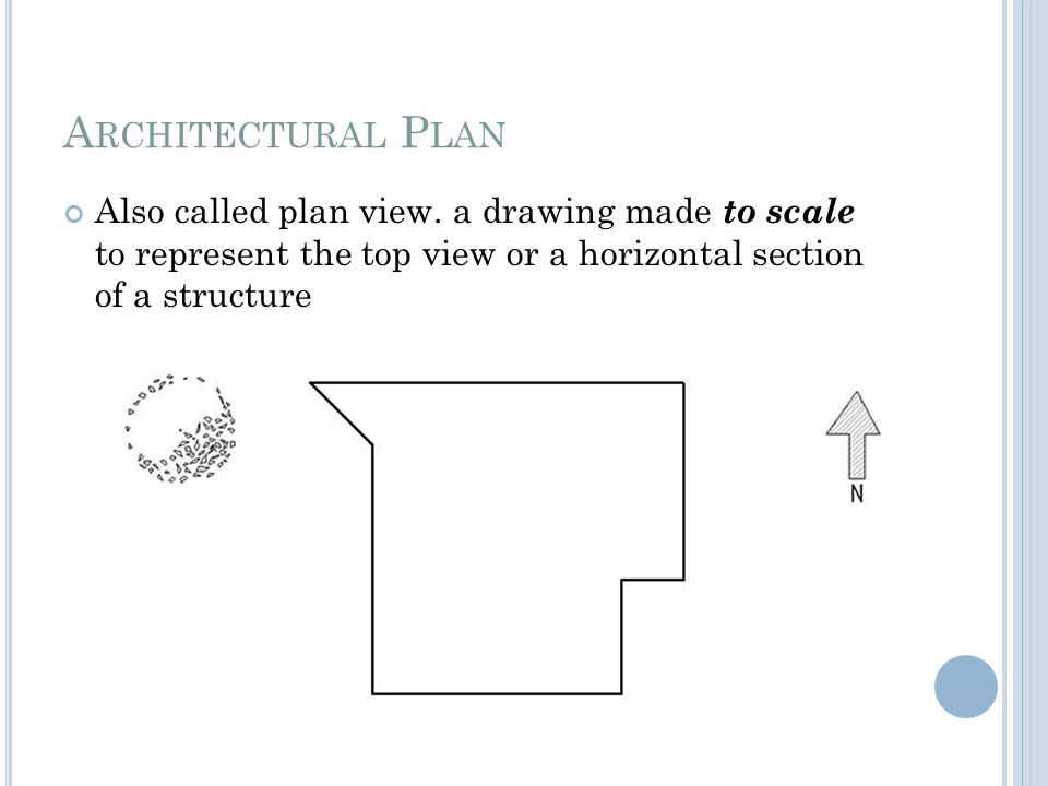 Architectural Plan Also called plan view.