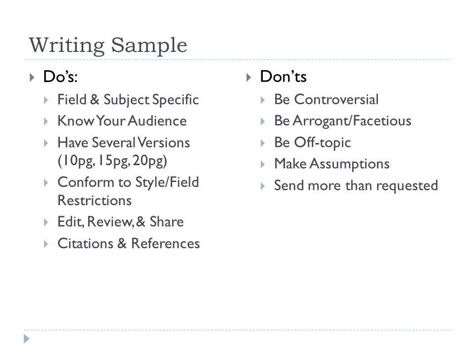 Writing Sample Do's: Don'ts Field & Subject Specific