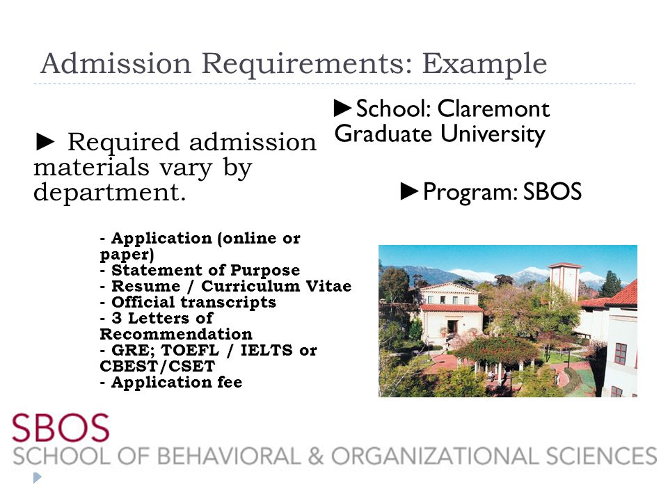Admission Requirements: Example