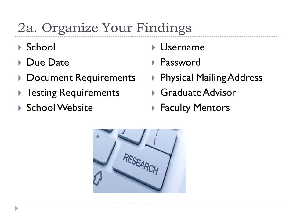 2a. Organize Your Findings