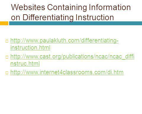 Websites Containing Information on Differentiating Instruction