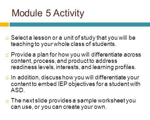 Module 5 Activity Select a lesson or a unit of study that you will be teaching to your whole class of students.