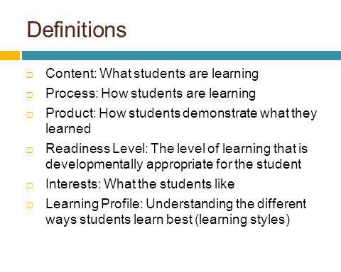 Definitions Content: What students are learning