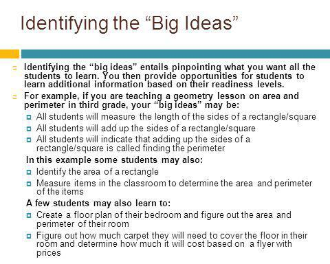 Identifying the Big Ideas