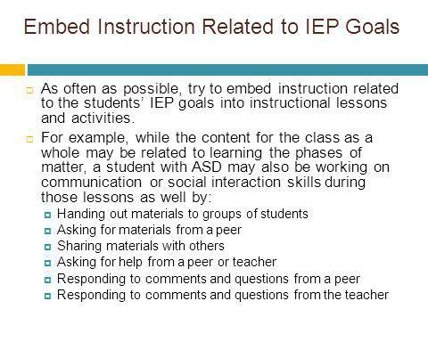 Embed Instruction Related to IEP Goals