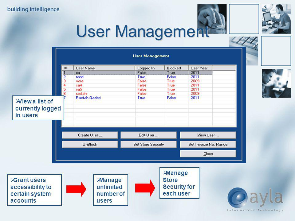 User Management View a list of currently logged in users