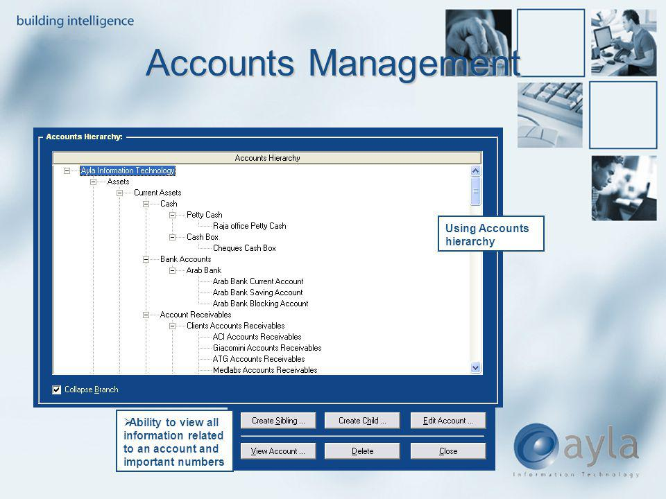 Accounts Management Using Accounts hierarchy