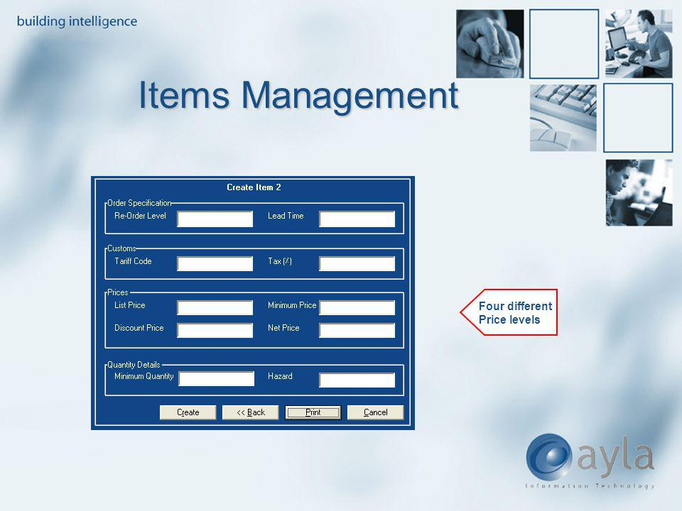 Items Management Four different Price levels