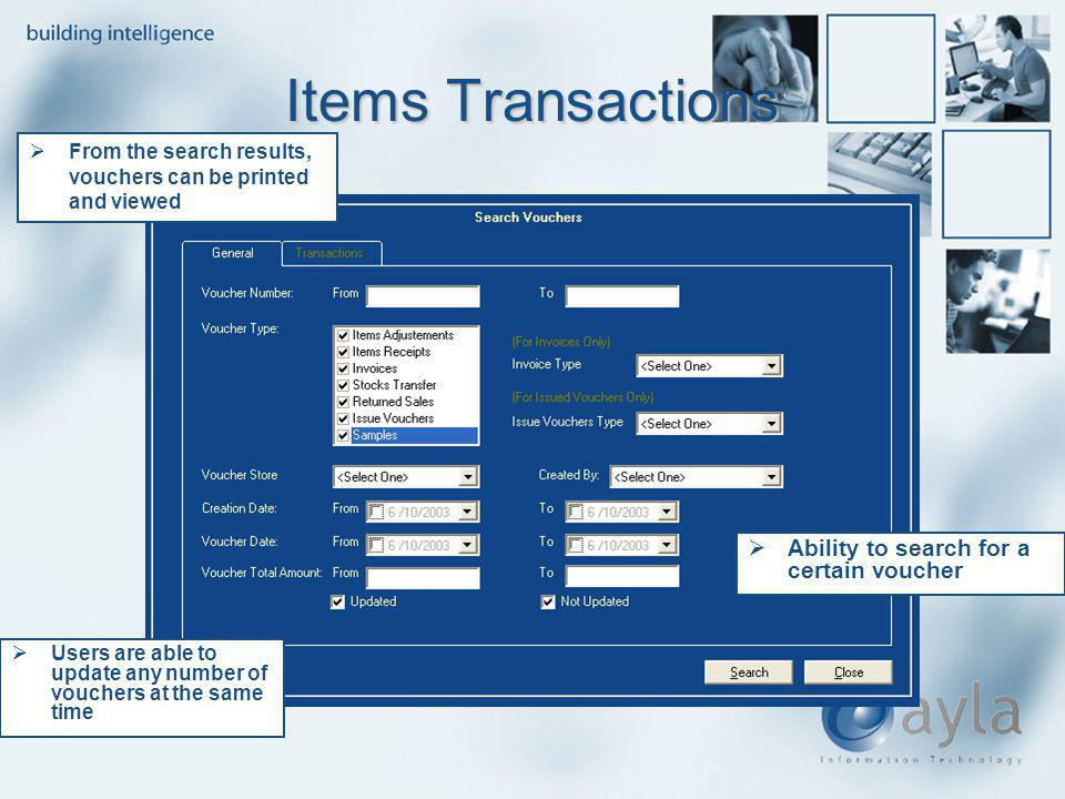 Items Transactions Ability to search for a certain voucher