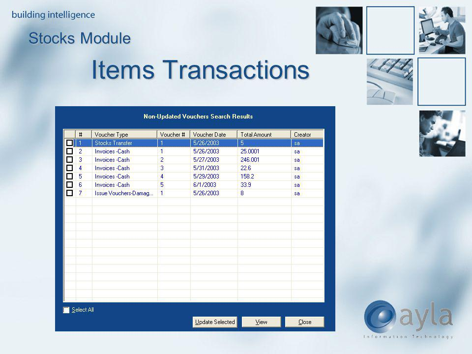 Stocks Module Items Transactions