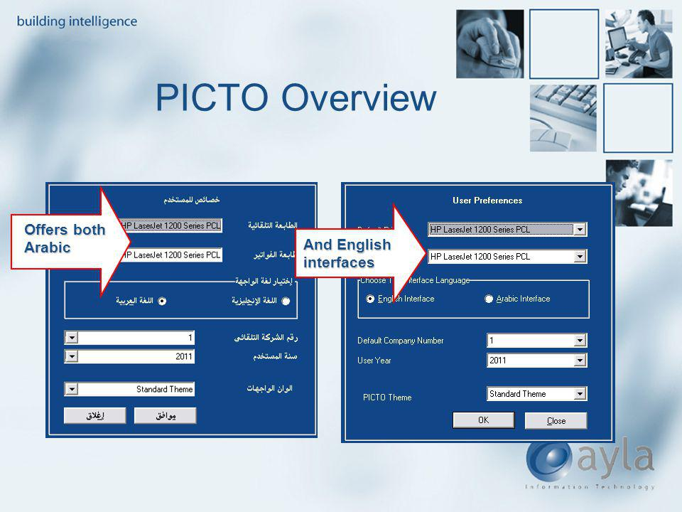 PICTO Overview Offers both Arabic And English interfaces