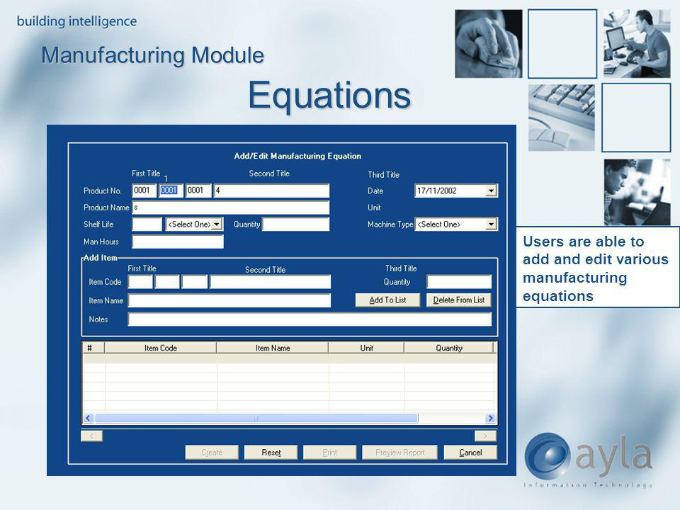 Equations Manufacturing Module