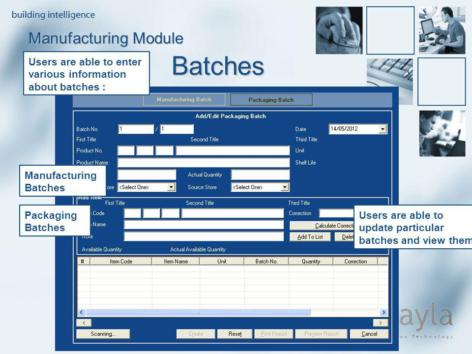 Batches Manufacturing Module