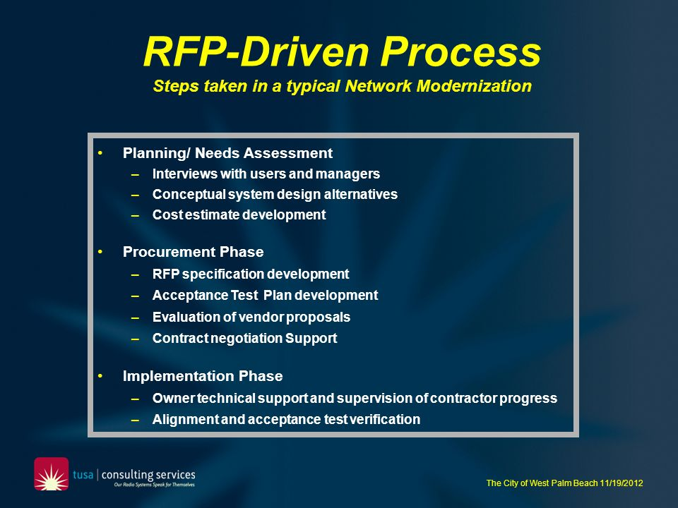 RFP-Driven Process Steps taken in a typical Network Modernization