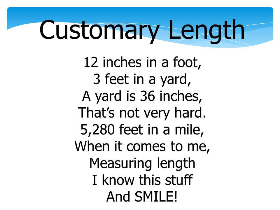 Customary Length 12 inches in a foot, 3 feet in a yard,