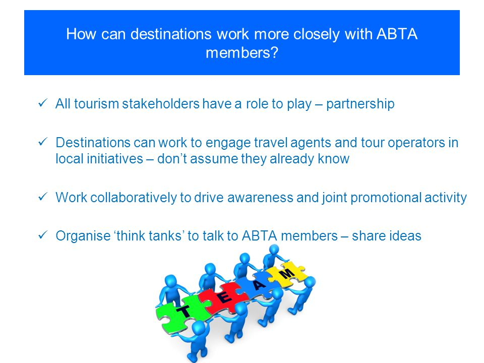 How can destinations work more closely with ABTA members