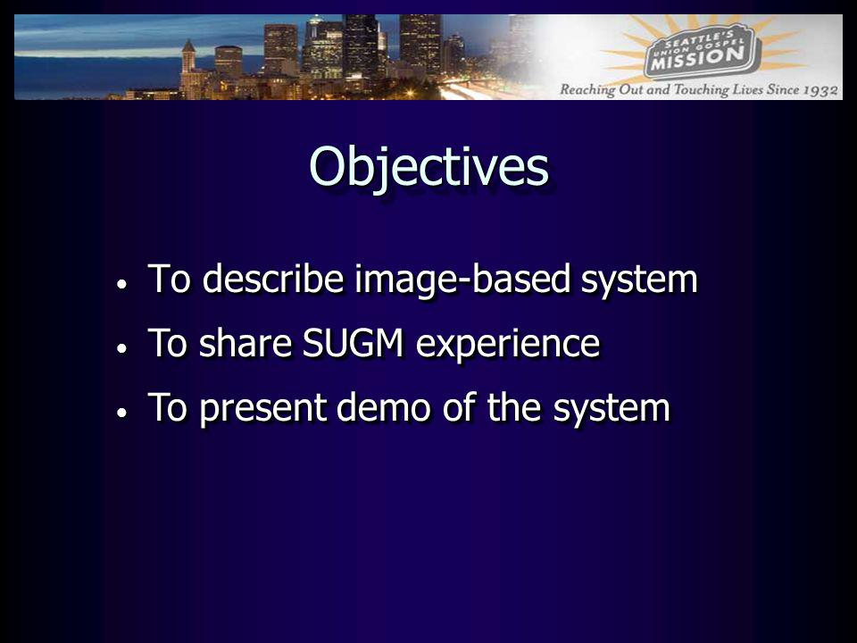 Objectives To describe image-based system To share SUGM experience