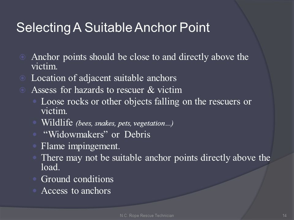 Selecting A Suitable Anchor Point