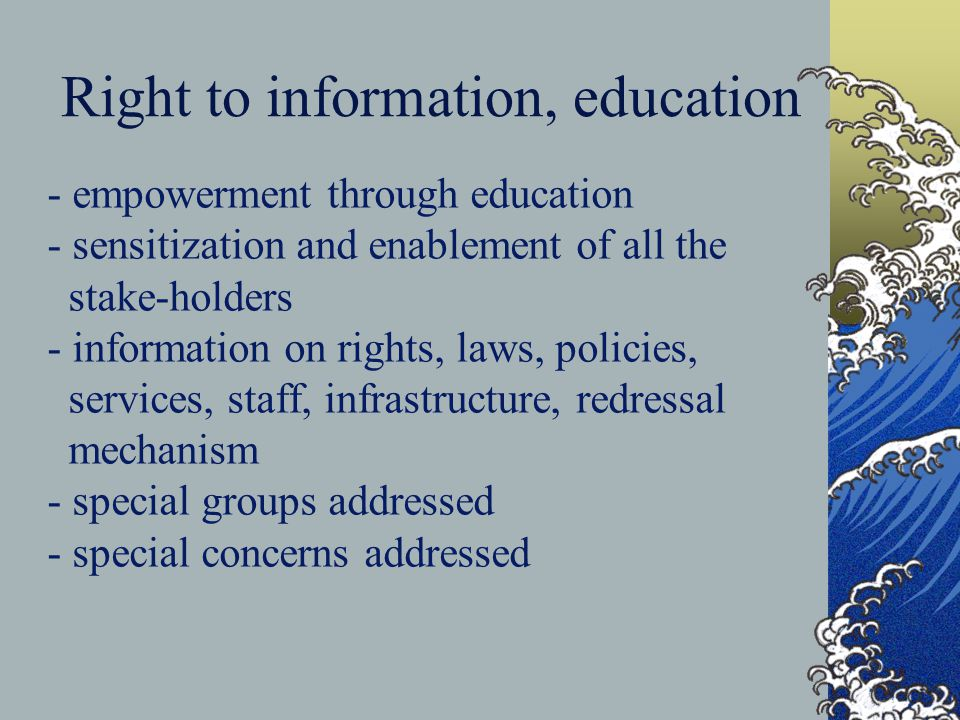 Right to information, education